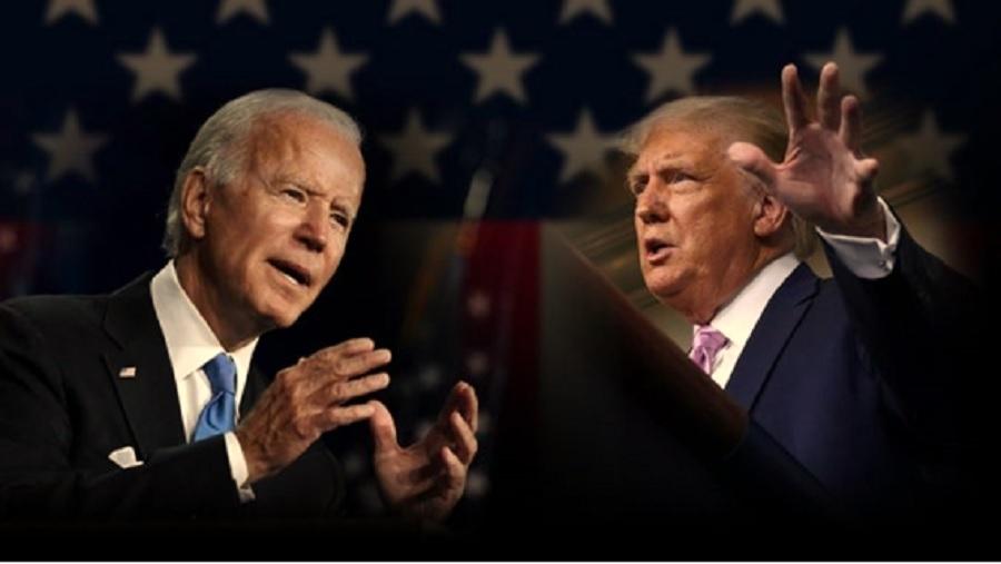 El primer debate presidencial: a la izquierda, Joe Biden (Partido Demócrata) – a la derecha Donald Trump (Presidente y candidato por el Partido Republicano)